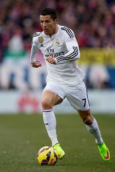 Cristiano Ronaldo of Real Madrid in action during the La Liga match between Club Atlético de Madrid and Real Madrid CF at Vicente Calderón Stadium on February 7, 2015 in Madrid, Spain.