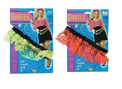 #Ladies 1980s neon lace garter #green or orange fancy #dress,  View more on the LINK: 	http://www.zeppy.io/product/gb/2/400906247703/