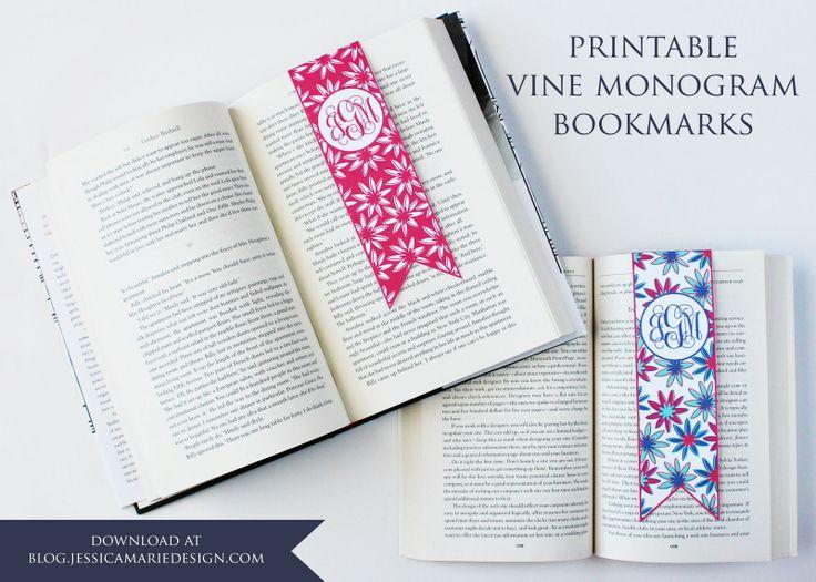Free Printable Monogram Bookmarks