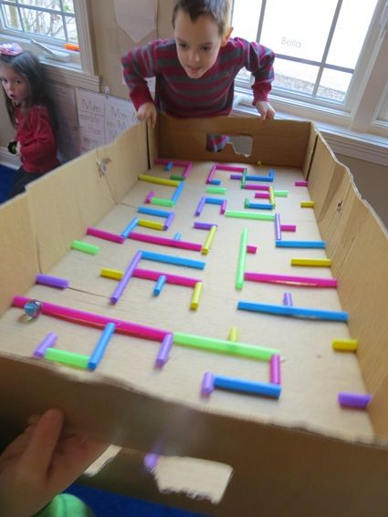 From maps to mazes (homemade maze out of straws and box) by Teach Preschool