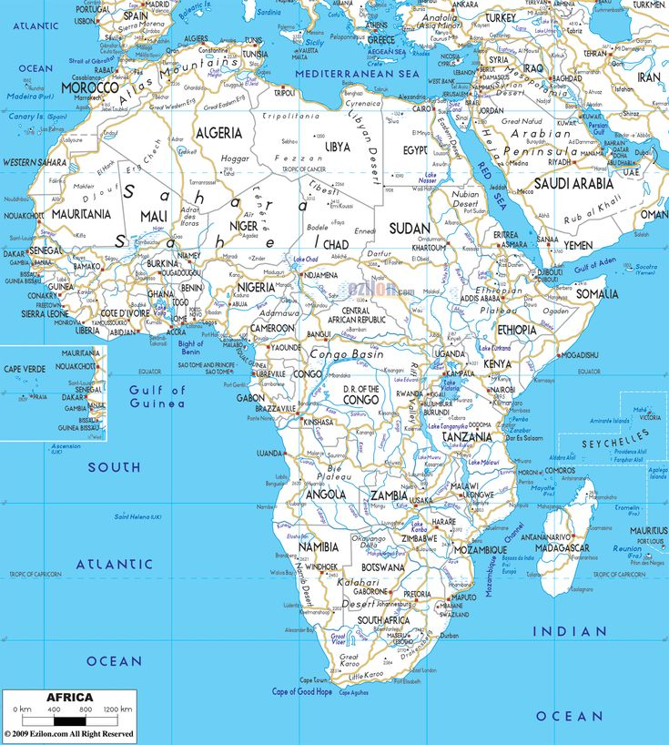 Road Map of Africa   Road Maps   Pinterest   Middle east ...