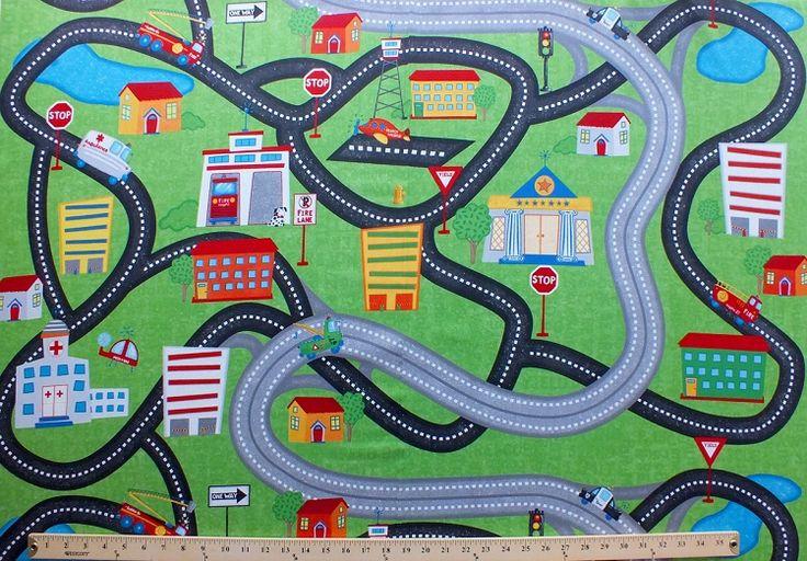 Zip Zoom Car Race Track Kids Playmat Scenic Cotton Fabric