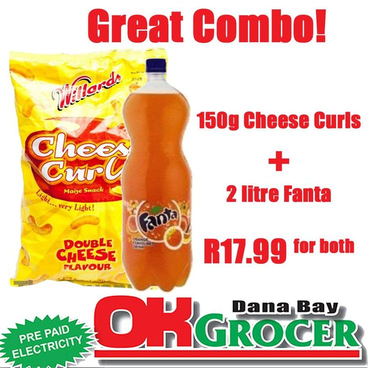 Get your favourite Cheese Curls (150g) with a 2litre Fanta at only R17.99 for both. While stocks last