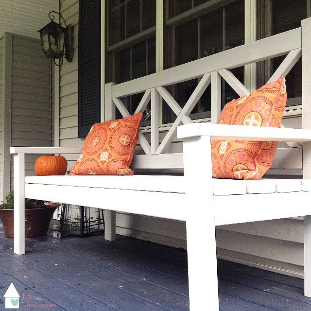 My version of the Ana White Large Porch Bench, it is large, it is GORGEOUS and you CAN build it for $50!