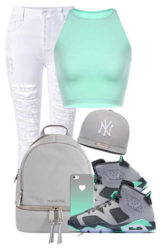 """Dope Swag 2016"" by bxby-girl-rielle ❤ liked on Polyvore featuring WithChic, MICHAEL Michael Kors, Casetify and New Era"
