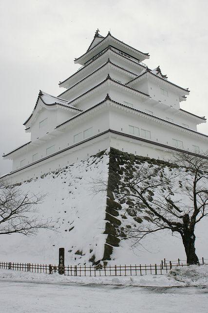Tsuruga-jo Castle ( Aizu-Wakamatsu Castle ) in snow, Fukushima, Japan.