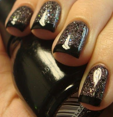 Polish: Nails Art, Nailart, French Manicures, Nails Design, Glitter Nails, Black Nails, Nails Ideas, Black Glitter, Black French Tips