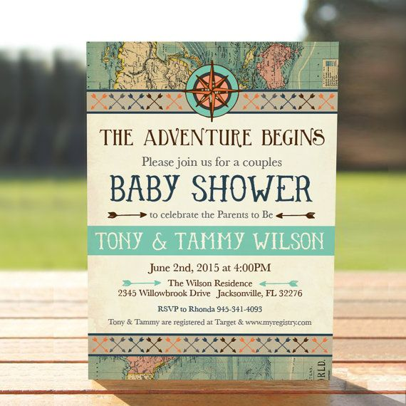Vintage Map Couples Baby Shower Invitation - Adventure Baby Shower Invite -  Digital Download - Printable