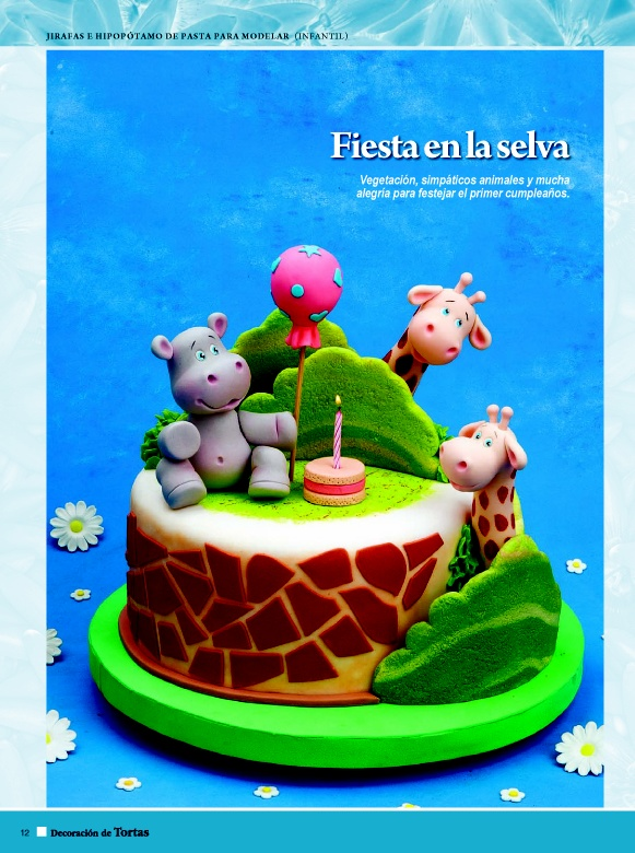 Fiesta en la selva.  Vegetación, simpáticos animales y mucha alegría para festejar el primer cumpleaños.