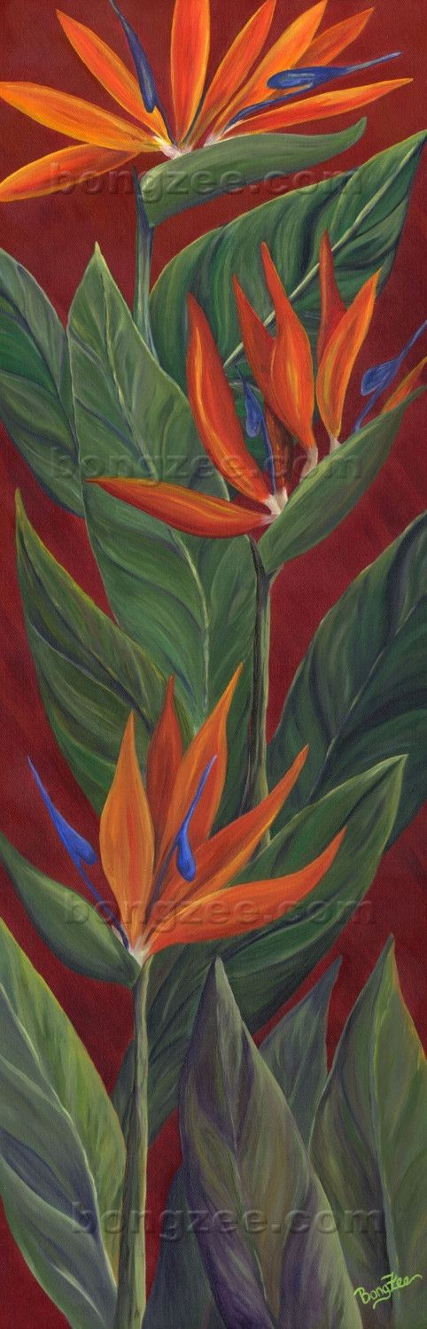 BIRD OF PARADISE Large Original Oil Painting 36x12 Art Artwork Tropical Flower Exotic Hawaii Hawaiian Botanical Red Orange Tropics Garden