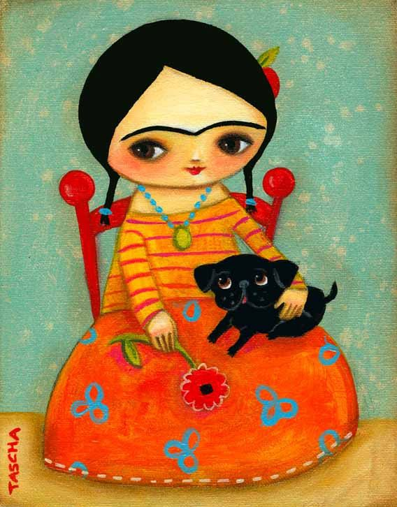 Frida Kahlo with Black Pug DOG sweet PRINT of original by tascha, $15.00