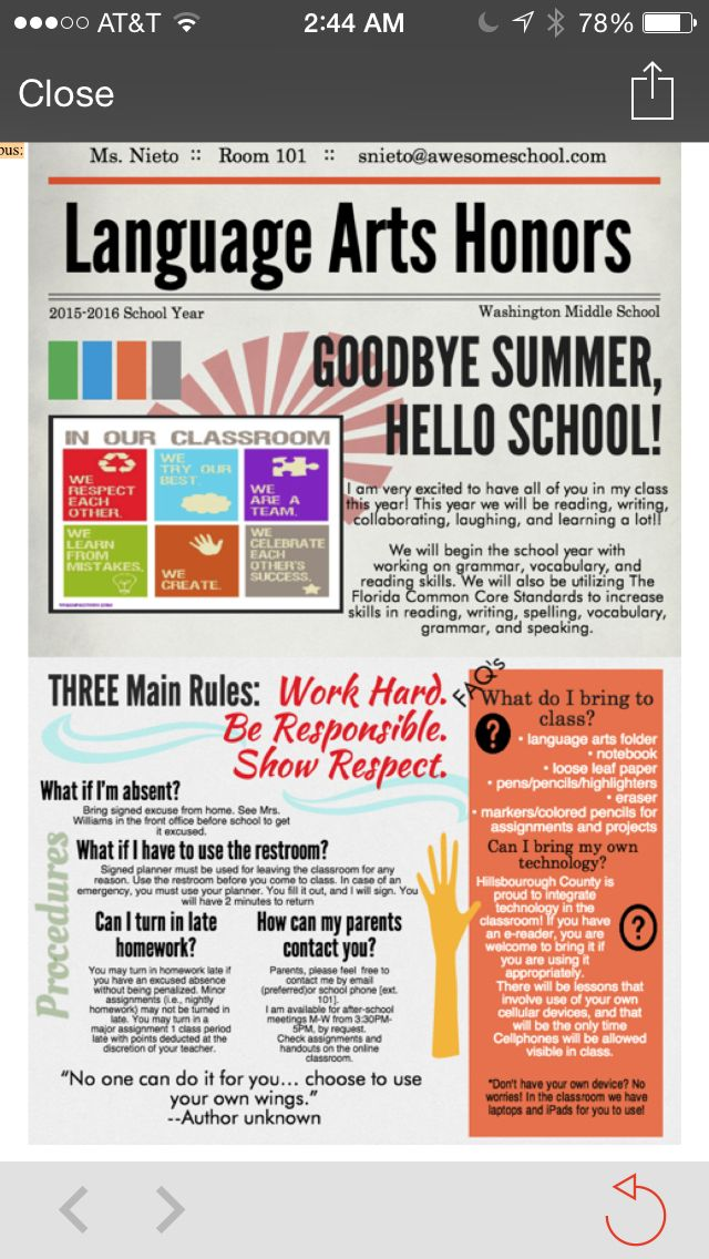 For a classroom management class I had to make a fake syllabus for an eighth grade  language arts class. This is the route I chose. Pinterest inspired! Piktochart.com template.
