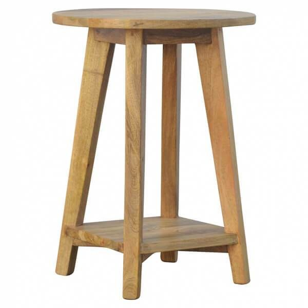 Buy Scandinavian Style Round Top Wood Stool 1 Shelf Natural Oak