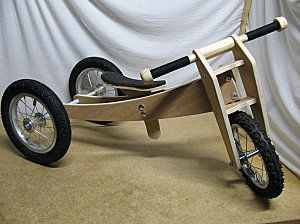 Trike Bike DIY balance bike Add pedals and seat backrest.