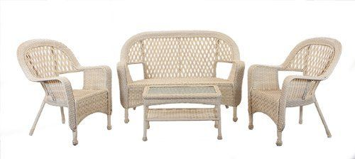 "4-Pc Nutmeg Brown Resin Wicker Patio Furniture Set - Loveseat, Chairs & Table by Gerson. $599.99. Includes: 1 loveseat, 2 arm chairs and 1 coffee table Product Features:Steel frameDiamond weave back designHand-woven, all-weather resin wickerWill not fade or mildewStrong powder coated steel frameNo assembly requiredWeatherproof for indoor/outdoor useEasy to clean with mild soap and waterCoffee table has a tempered glass top and bottom storage shelfArm chair dimensions:35""H x 28.5""..."