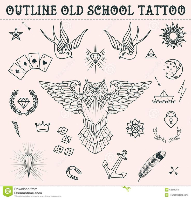 Old School Tattoo Set. Cartoon  Tattoo Elements In Funny Style:anchor, Owl, Star, Heart, Diamonds, Scull, Swallow. Outline S - Download From Over 47 Million High Quality Stock Photos, Images, Vectors. Sign up for FREE today. Image: 62816256
