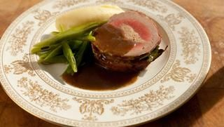 Fillet of beef Prince Albert - BBC Food - a luscious dish of a bacon-wrapped filet of beef stuffed with a truffle oil doused duck liver pâté filling in a Cognac, Madeira and beef stock based sauceFood Recipes, Beef Stuffed, Bacon Wraps Filet, Beef Stockings, Prince Albert, Bbc Food, Child Recipe, Beef Prince, Braised Prince