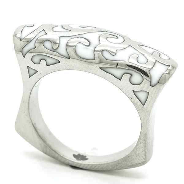 Joyas de Acero-Anillos-RA0739W. Anillo acero delgado, esmaltado en color blanco