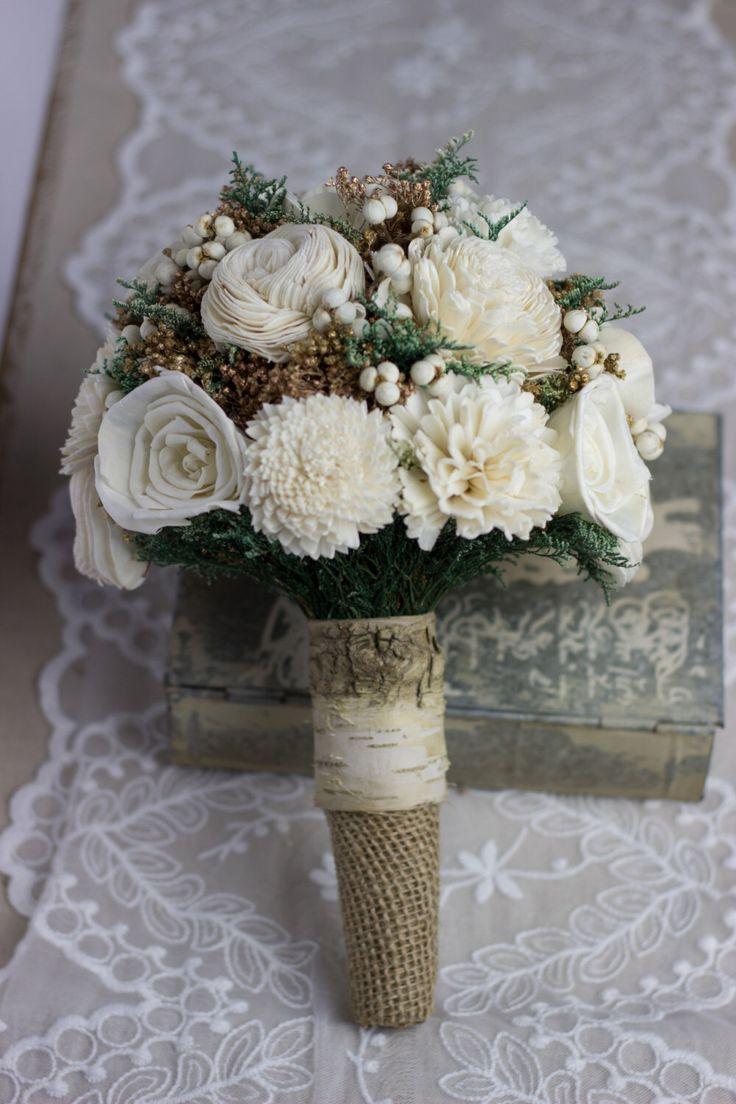 Rustic Birch Wedding Bouquet, Ivory Sola Flower Bridal Bouquet, Woodland Bouquet, Rustic Bouquet, Winter Bouquet Keepsake Bouquet by CarolinaRosaDesigns on Etsy https://www.etsy.com/listing/211445734/rustic-birch-wedding-bouquet-ivory-sola
