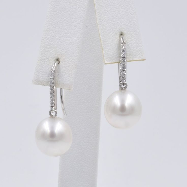 South Sea Parl and Diamond Drop Earrings, 18K White Gold, 10.5mm by Fine Jools. #pearlearrings #southseapearls #bridalearrings