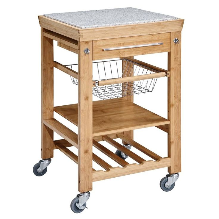 Bamboo and Granite Kitchen Cart - 44031BMB-01-KD-U