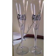 Ποτήρι σαμπάνιας γάμου Ασημένιοι πεταλούδες  Hand painted wedding champagne flute Silver butterflies