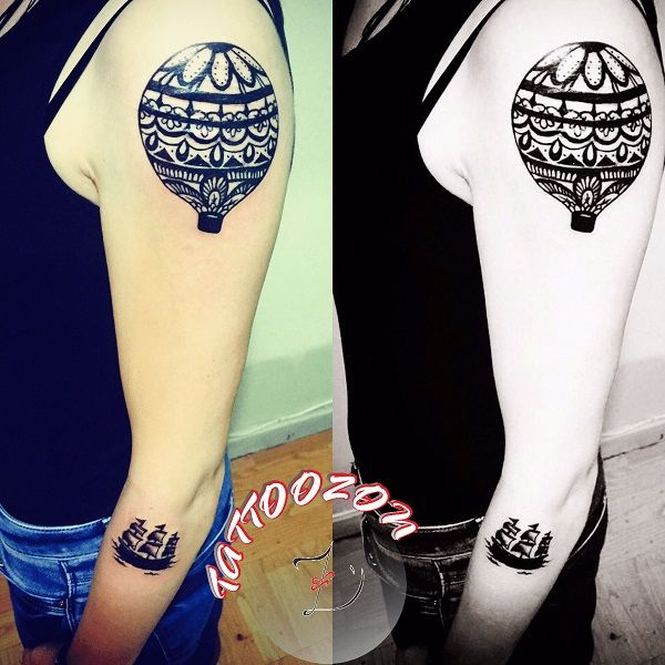 tattoozon - trabzon dövme  -shoulder arm hot air balloon ship sailing boat tattoo - kol omuz kol sıcak hava balon sepet yelken gemi dövmesi