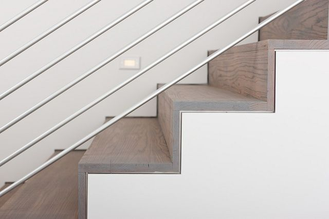 modlin modern stair detail   red oak stair treads with rubio monocoat stain in gris beige   photo by jeremy enlow   360 west magazine august 2012
