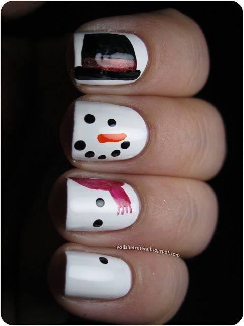 Snowman Nails. So I just saw this and I totally want someone I know to do this! :D