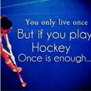 You only live once, but if you play hockey, once is enough
