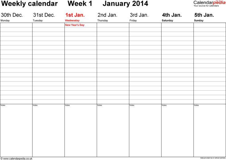 Mais de 25 ideias únicas de Weekly calendar template no Pinterest - weekly calendar printable