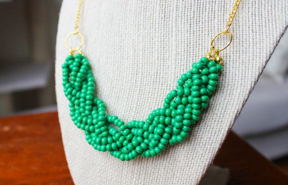 Green Statement Necklace with Gold Chain Green by ChloeAndEvie