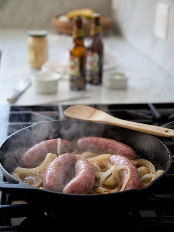 Beer Bratwurst and Onions Recipe. A perfect beer dinner recipe.