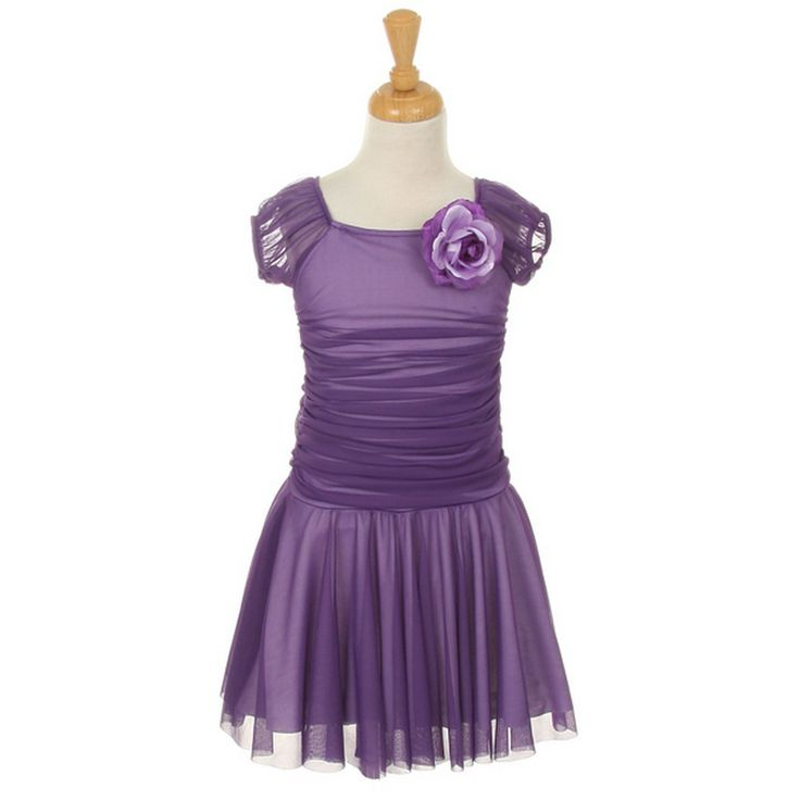 Your girl will surely enjoy the color, the shape, the fit and fashionable design of this lovely dress by Cinderella Couture. Soft comfortable stretch chiffon dress features corsage, a ruched top and a slightly flared skirt. The dress brings out a purple p