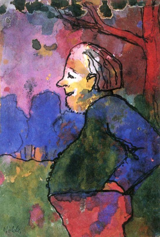 Emil Nolde, Old Gardener, 1938-1945, watercolour,   24 cm (9.45 in.) x 16.4 cm (6.46 in.), Nolde Foundation Seebüll - Neukirchen, Germany