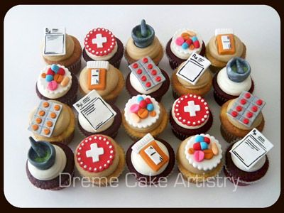 Birthday Cupcakes with Pharmacy symbols!!!! :)  Why yes, I would like these at my graduation party.