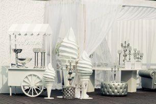 Роскошная белоснежная свадьба, мороженое для гостей