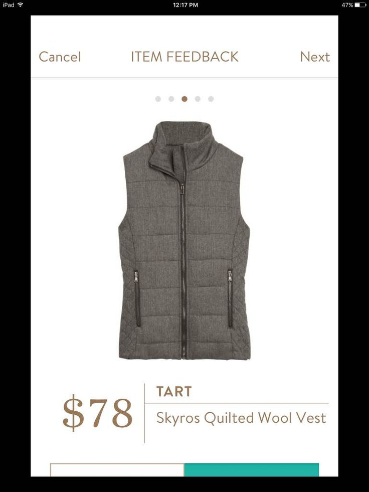 Tart Skyros Quilted Wool Vest. So warm and cute! https://www.stitchfix.com/referral/6839537