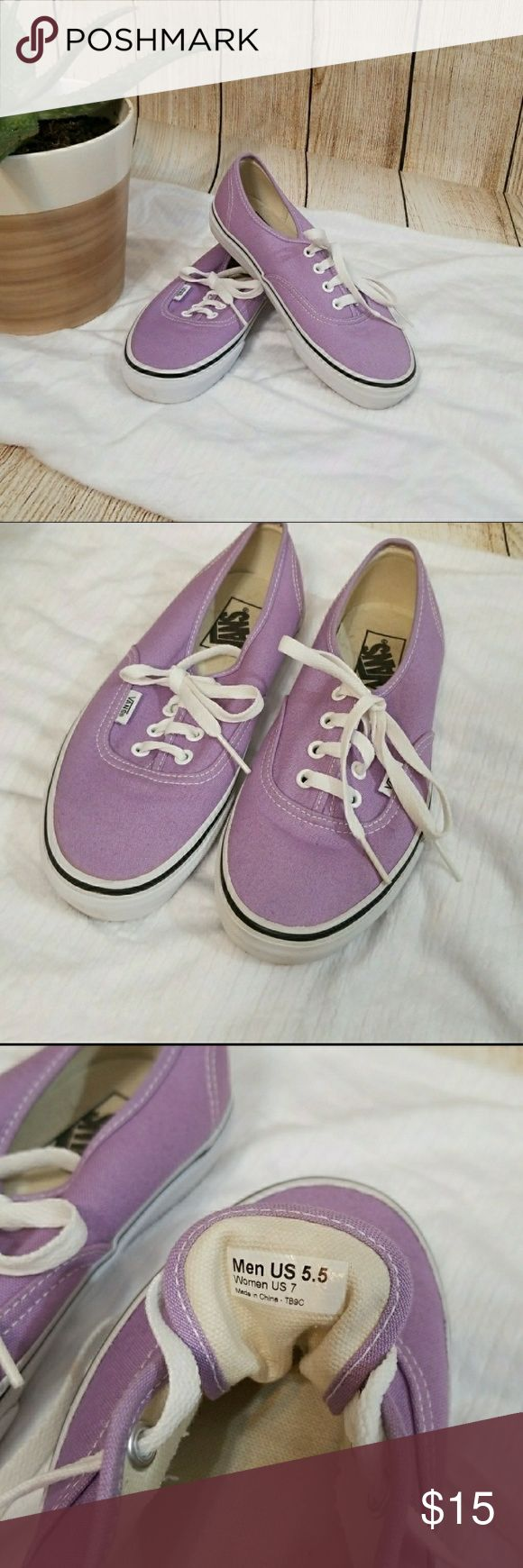 💕final price💕 light purple Vans Worn once for a matching shirt I had, no flaws Vans Shoes Sneakers