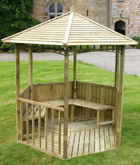 The 6 sided #Canterbury #Gazebo comes complete with a #feather board roof, seats, a floor and spindal panels at the front. A great place to #relax or entertain in #summer and sunny #autumn days.