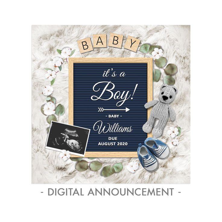 Digital Personalized Rustic Style Baby Girl Lightbox Gender Reveal Social Media Custom Girl Pregnancy Announcement Idea Facebook Instagram