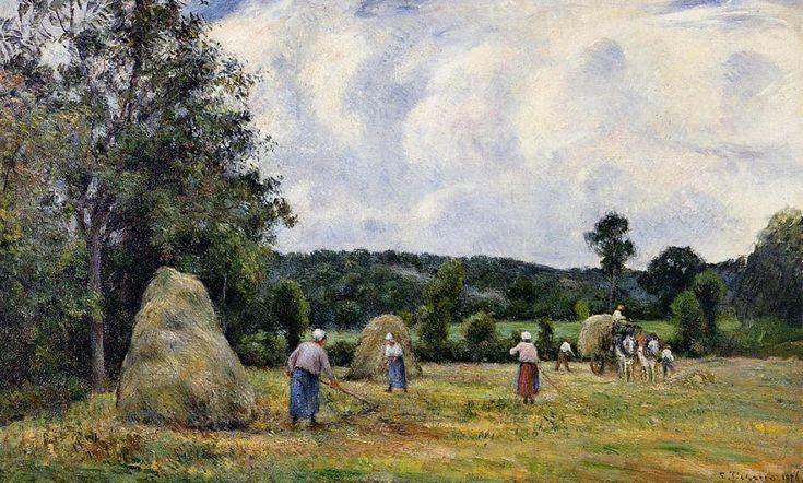 O Montfoucault colheita 2, óleo sobre tela Camille Pissarro (1830-1903, Ilhas Virgens)