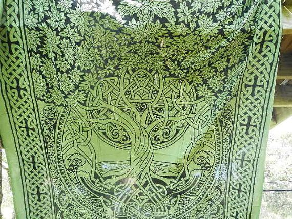 Hippie Tapestry Fabric Bohemian Tie Dye Tree of Life - 2 Color Options