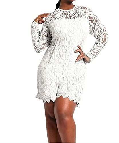 113ca3c06b Capray Women Sexy Long Sleeve Lace Plus Size Playsuit Jumpsuit Shorts Party  Evening