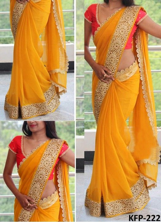 Buy Georgette Yellow Bollywood Replica Saree