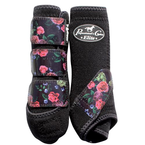 Horse gear | Professional's Choice VenTECH Elite Sports Medicine Boots in black and floral.