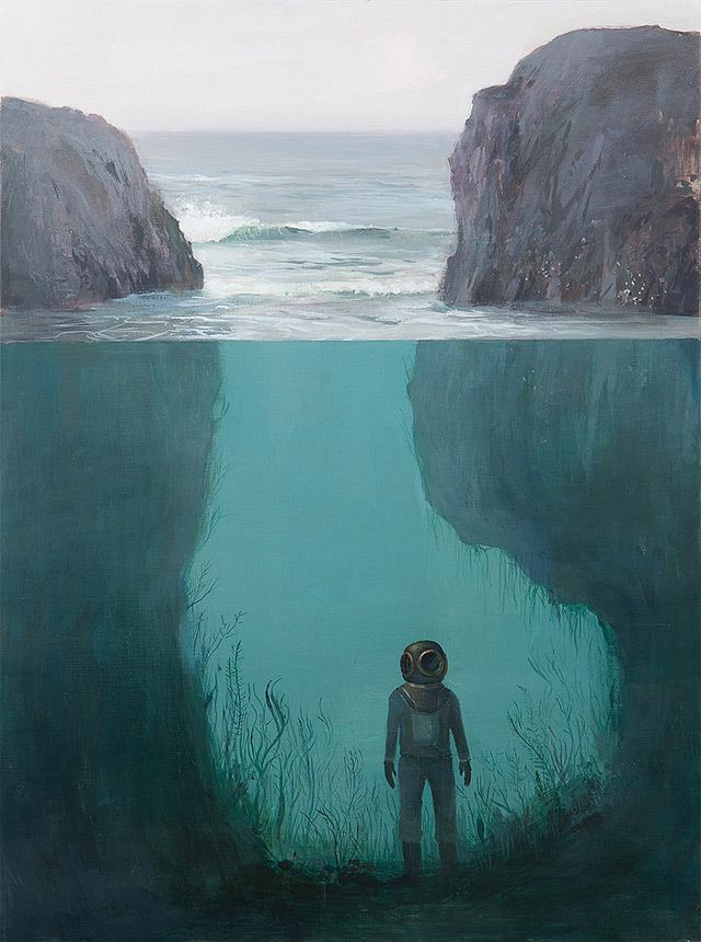 I just love these... DREAMLIKE SPLIT-LEVEL LANDSCAPE PAINTINGS BY JEREMY MIRANDA