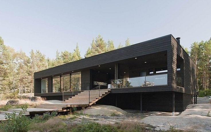 Одноэтажный загородный дом черного цвета в лесистой местности