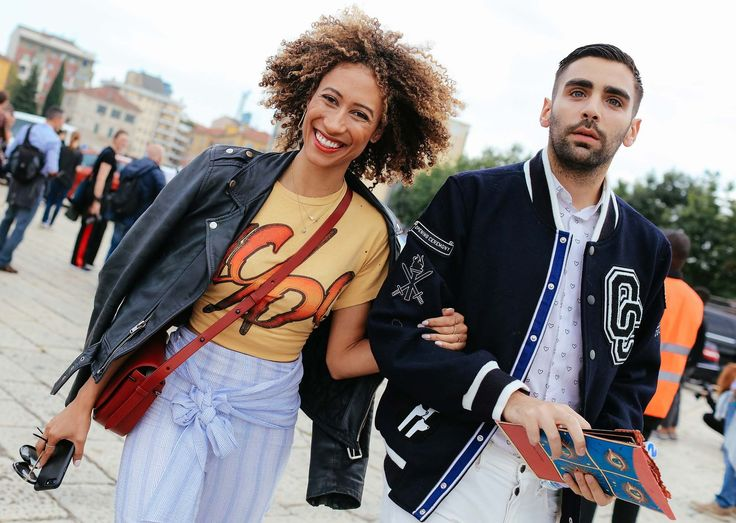 Elaine Welteroth in a Blk Dnm jacket, Jill Stuart pants, and 3.1 Phillip Lim bag with Phillip Picardi in an Opening Ceremony jacket