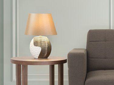 Lampe A Poser Lampe De Salon De Chevet De Bureau Beige Et